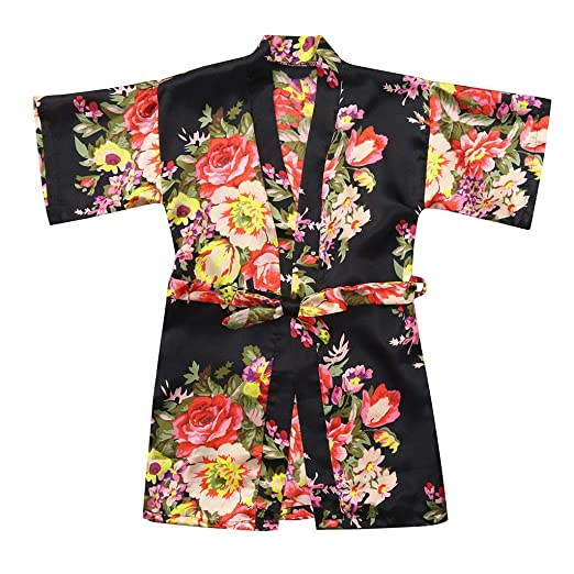 71ce13efed VEFSU Toddler Baby Kid Girls Floral Silk Satin Kimono Robes Kids Wrap  Bathrobe Sleepwear Clothes Black