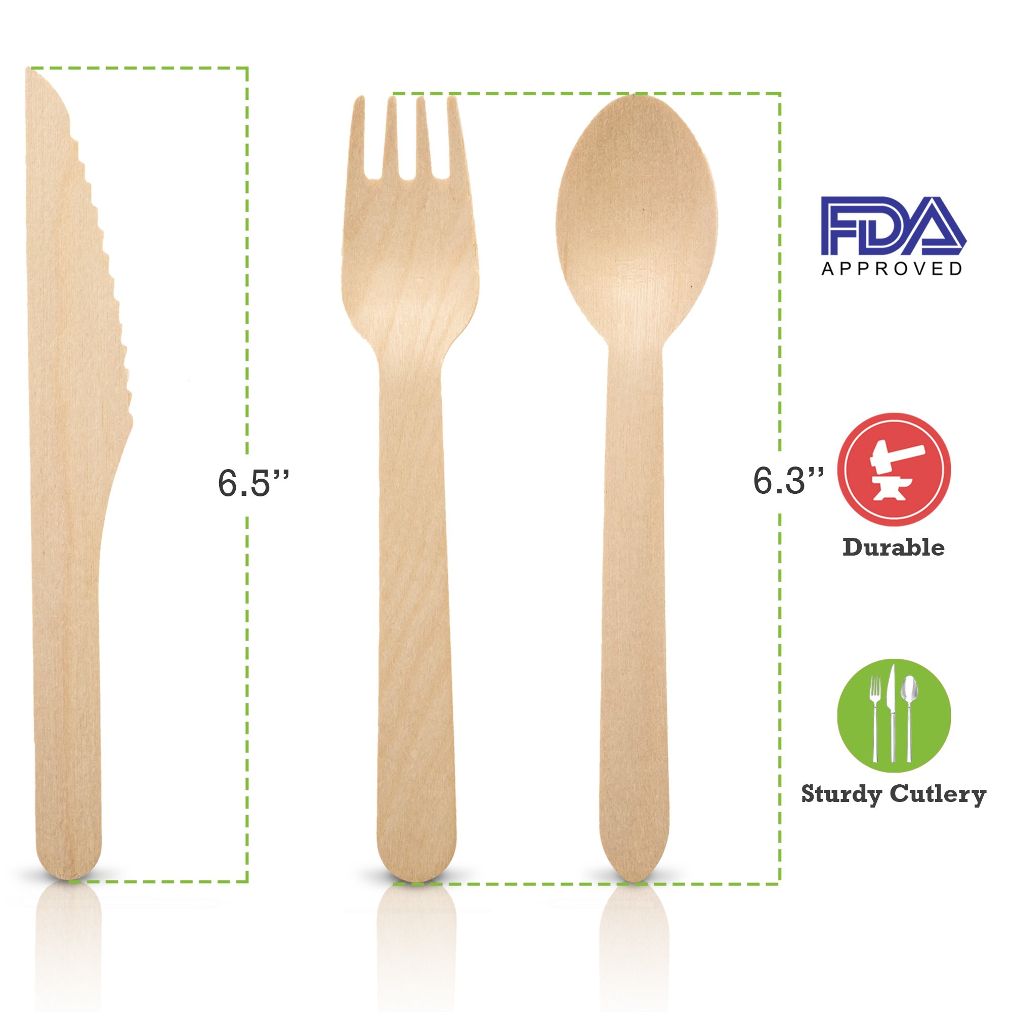 Wooden Disposable Utensils Set 100 Forks 50 Spoons 50 Knives Wood Cutlery Eco Friendly Compostable Biodegradable Silverware Party Flatware Kitchen Serving Eating Picnic Wedding Green Natural Utensil by Wood Trove (Image #3)