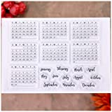 KWELLAM Words Calendar Week Month January December Clear Stamps for Card Making Decoration and DIY Scrapbooking