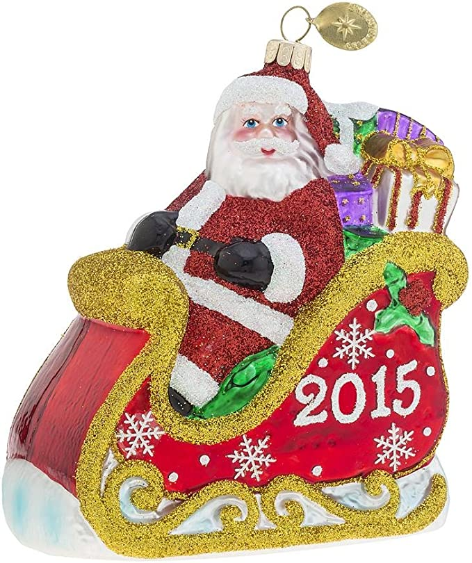 Radko 2014 Roly Poly Santa /& Present Glass Christmas Ornament Celebrations NIB