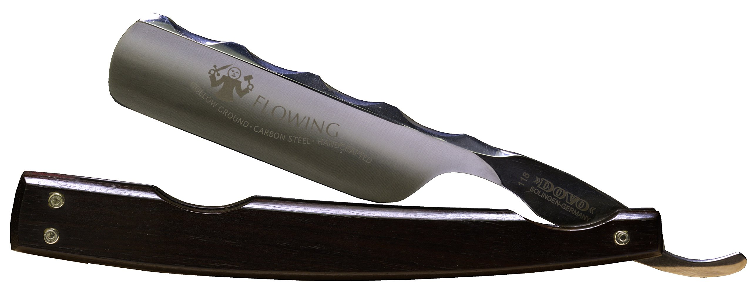 Dovo 1186811 Flowing 6/8'' Full Hollow Ground Carbon Steel Straight Razor with Shave Ready Option (Shave Ready, Unsealed)