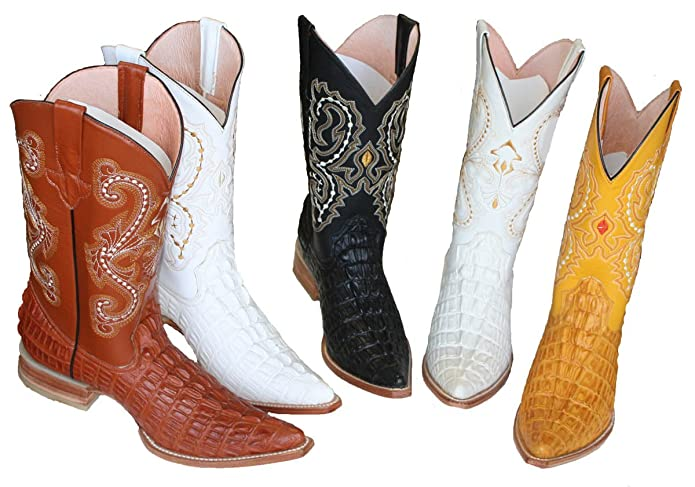 Amazon.com | Dona Michi Cowboy Boots Leather Crocodile Back Cut Cowboy Handmade Luxury Boots | Western