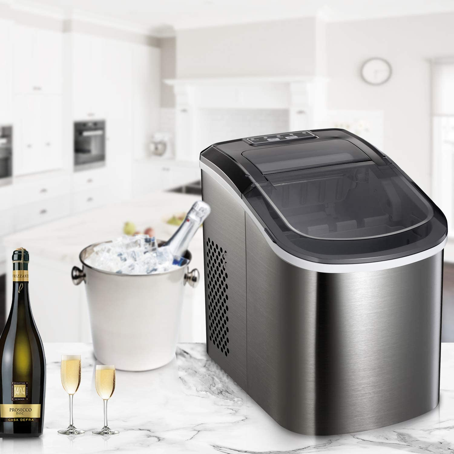 Countertop Makes 26 lbs of Ice per 24 Hours 9 Ice Cubes Ready in 7 Minutes with Ice Scoop and Basket Portable Automatic Ice Maker Stainless Steel Ice Machine