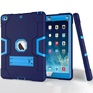 CaseHaven iPad 9.7 Inch Case, for iPad 6th Generation, Dominator Series - Drop Protection, Three-Layer Full-Body Rugged Hybrid Protective Kids Adult Case with Kickstand - Blue