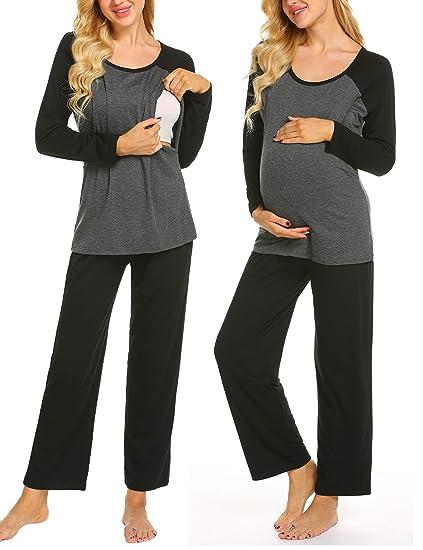 56ee8d4494b98 Ekouaer Women's Soft Maternity & Nursing Pajama Set 2 Pcs Pregnancy  Sleepwear ...