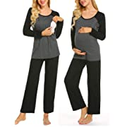 Ekouaer Women's Maternity Nursing Cotton Pajama Sets Breastfeeding Sleepwear (Black L)