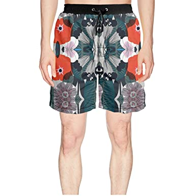 Mens Beach Surfing Boardshorts Swimming Trunks Red Flowers and Flamingo Shorts