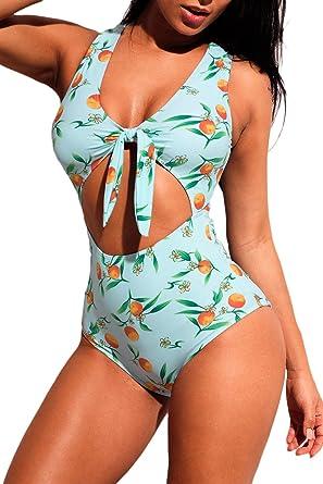 d8b696a424c6 BaronHong Lemon Print Tie Front Cut Out One-Piece Swimsuit(Green,S)