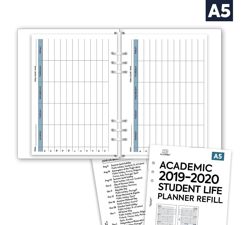 compatibile con Filofax Student planner A5 a righe Agenda settimanale su due pagine NBplanner/® Academic 2019-2020