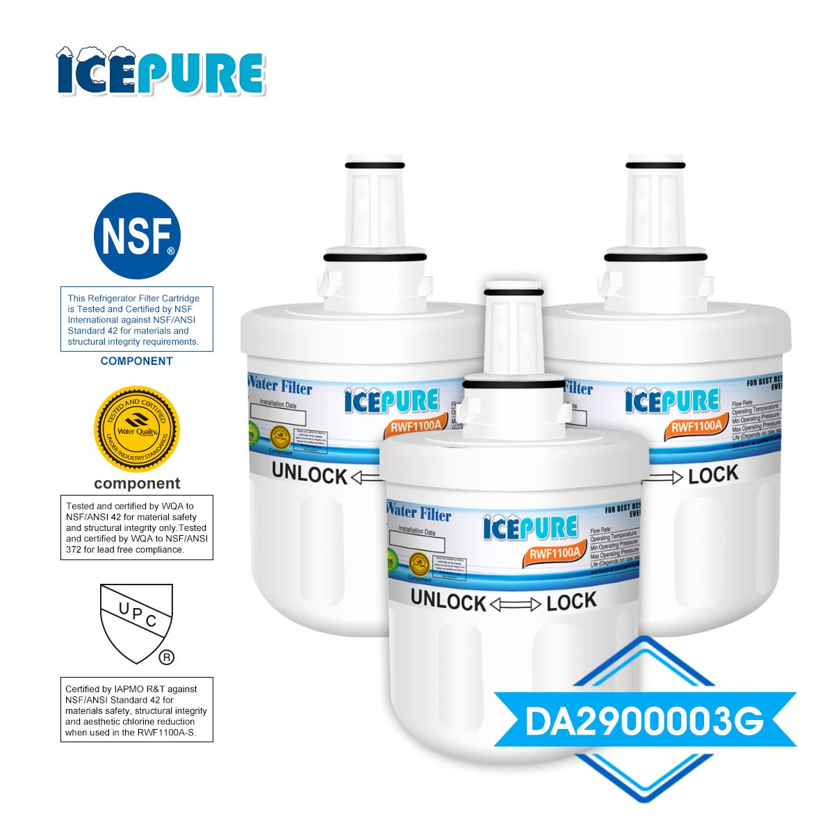 ICEPURE DA29-00003G Refrigerator Water Filter Replacement For Samsung DA29-00003G, DA29-00003B, HAFCU1, DA29-00003A Advanced Series, RWF1100A, 3PACK