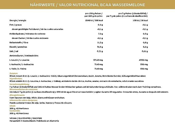 BCAA 8:1:1 aminoácidos esenciales en polvo, veganos y sin dextrosa/maltodextrina, bajos en carbohidratos, 300 g - de la marca de deporte profesional ...