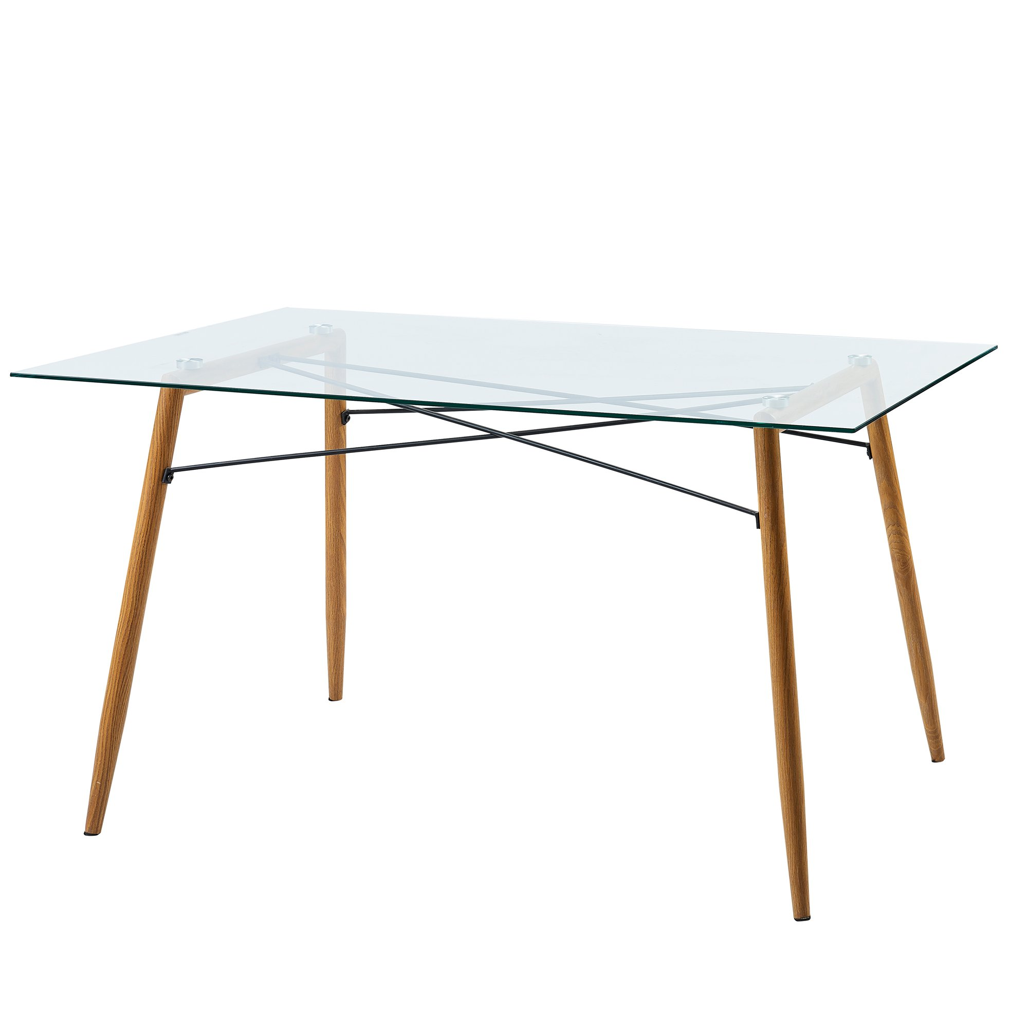 Versanora VNF-00026 Minimalista Dining Tables, Glass Top/Wood Grain Leg by Versanora