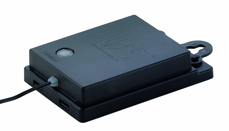 Konstsmide 3731-100 LED Lichterkette Lichterkette Lichterkette   für Außen (IP44)    Batteriebetrieben  4xD 1.5V (exkl.)   mit Lichtsensor, 6h und 9h Timer   480 warm weiße Dioden   schwarzes Kabel db2996