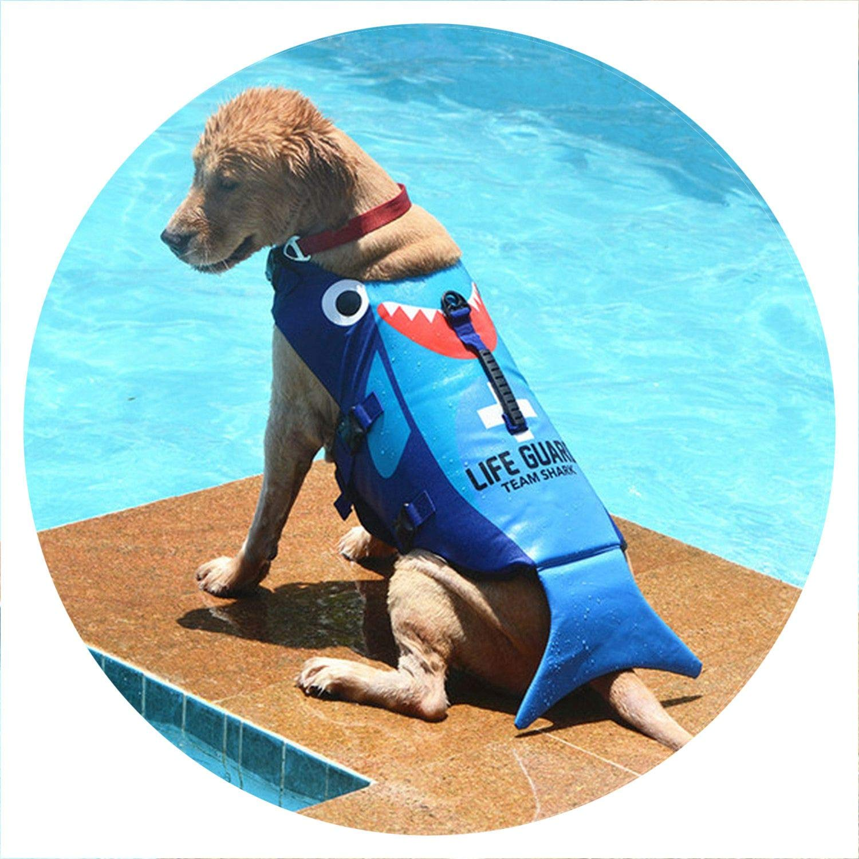 PG-One Dog Life Jacket Pet Life Vest Cute Shark Mermaid Dog Swimsuit for Small Medium Large Dog Swimming Safety Preservers,Blue Shark,L