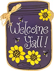 "Briarwood Lane Welcome Y'all Jar Burlap Spring Garden Flag Flowers 12.5"" x 18"""