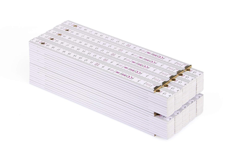 Metro plegable de madera Metrie PERFEKT color blanco Blanco 1 unidad de 2 m de largo con divisi/ón d/úplex