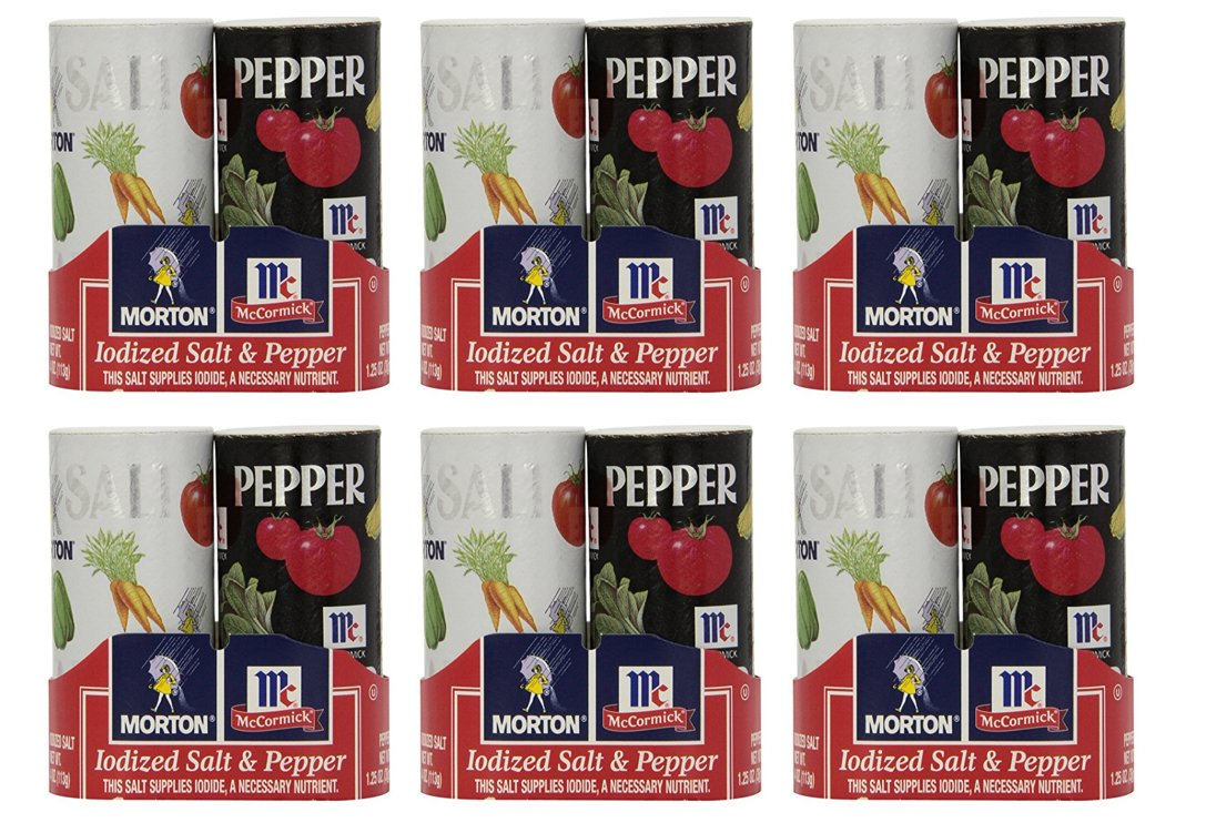 Morton, Iodized Salt & Pepper Shaker Duo Pack, 5.5oz Package (Pack of 6)