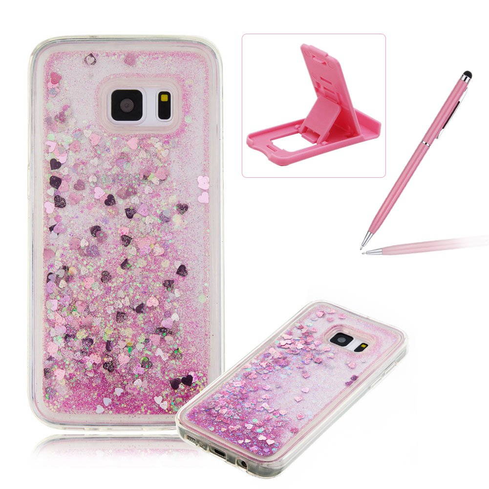 Liquid Case for Samsung Galaxy S7, Silicone Case for Samsung Galaxy S7, Herzzer Creative Luxury Design Flowing Liquid Quicksand Floating Bling Glitter Sparkle Stars Love Hearts Triangle Sequin Anti Scratch Bumper Rubber Back Cover For Samsung Galaxy S7 + 1