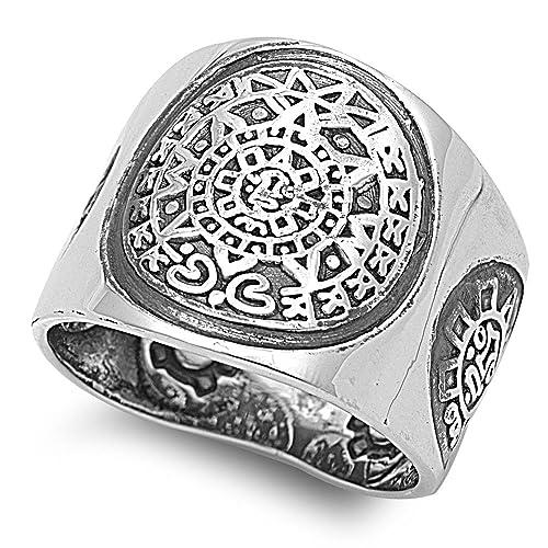 Amazon.com: Aztec diseño de calendario maya anillo plata de ...