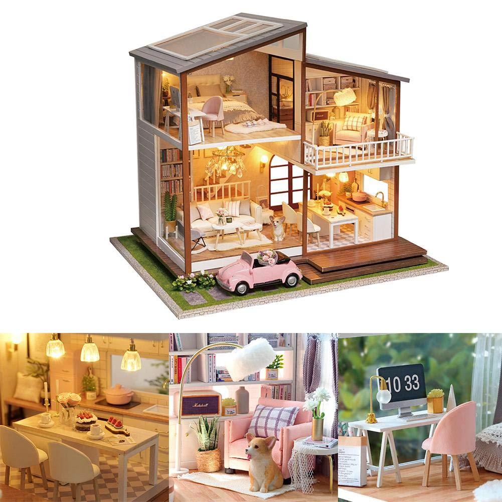Amazon Com Per Newly Diy Dollhouse Big Villa Luxury Dollhouse