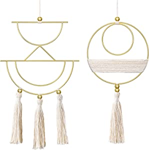 Mkono 2 Pcs Small Macrame Wall Hanging Boho Home Decor Cute Fringed Wall Art Handmade Tassel with Metal Ring for Living Room Bedroom Dorm, 12.6''H x 7.6''W and 11.5''H x 5.9''W, X-Small