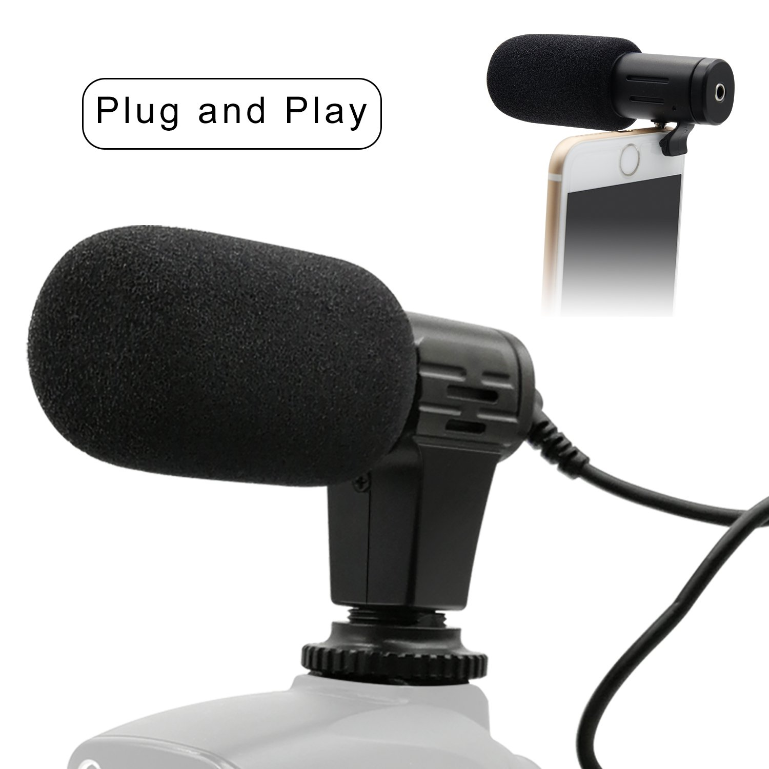 PLOTURE Camera Microphone, Video Interview Microphone Directional Recording Shotgun Mic with Shock Mount for iPhone/Andoid Smartphones, Nikon/Canon/Sony Camera/DV Camcorder Audio Recorder PC (MIC1)
