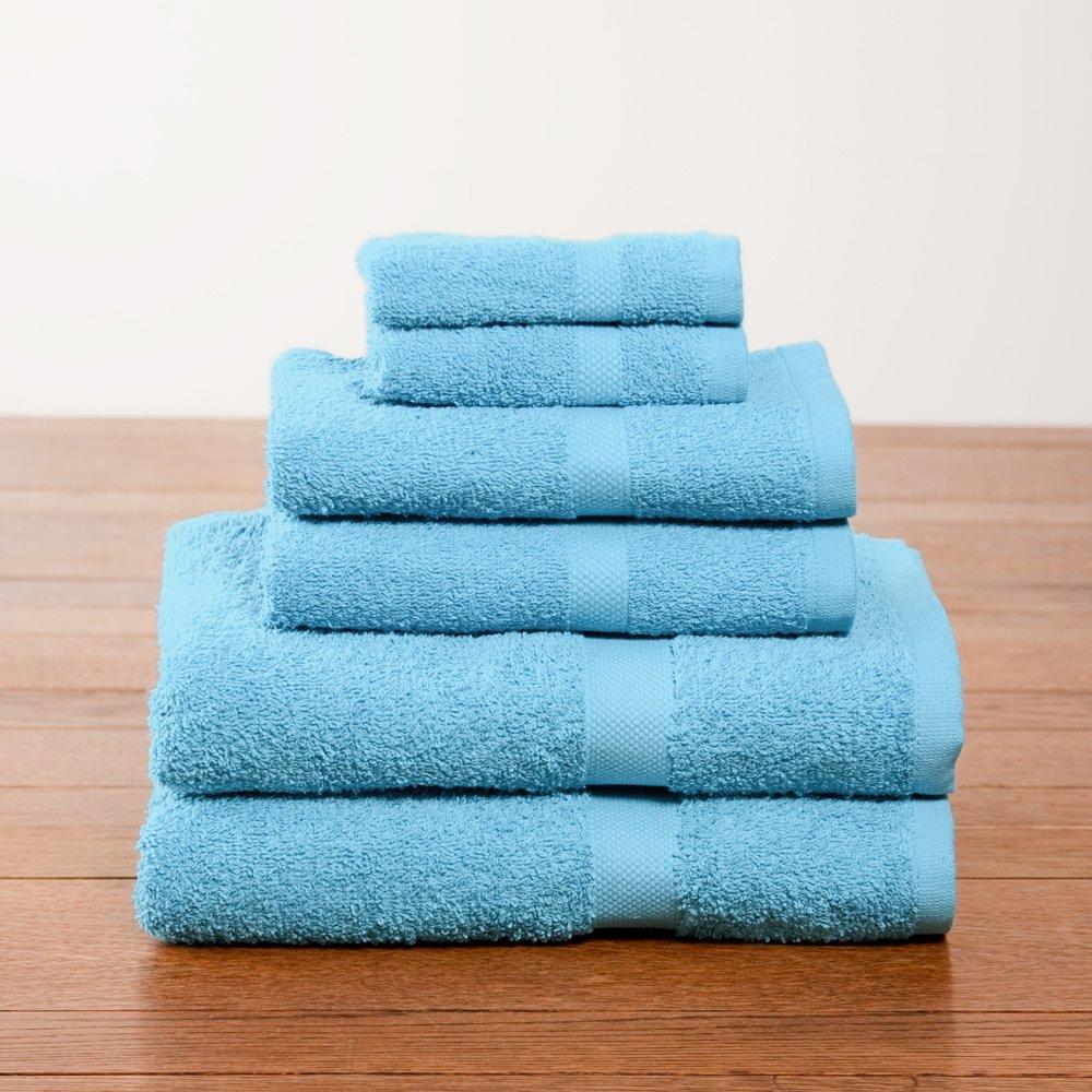 6 Piece Aqua Color Towel Set College Dorm Bath Set