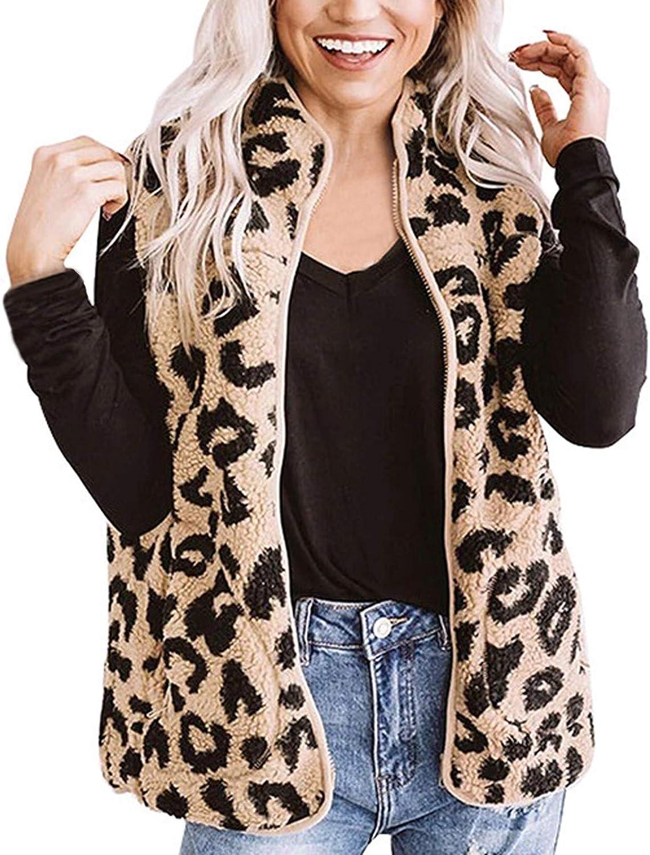 YANG  탑 플러시 따뜻한 스웨터 민소매 지퍼 조끼 여성 경량 자켓 레오파드 포켓 코트 탑스 패션 아웃웨어