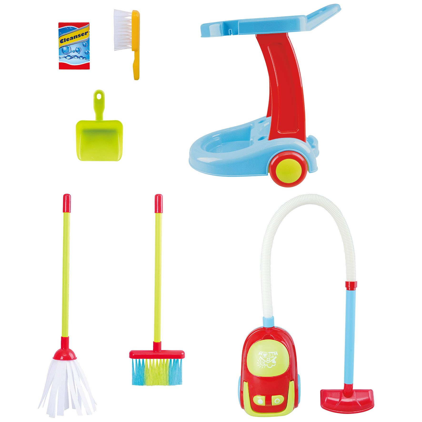 PlayGo My Cleaning Trolley with Vacuum Cleaner Toy 7 Pc Home Products for Kids Pretend Play Set for Kids Age 3 Years & Up by PlayGo (Image #3)