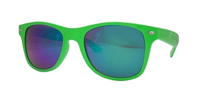 63830eff952 Neon Colour Frame Wayfarer Sunglasses With Blue-Green Spectrum Tint Mirrored  Lens (Green