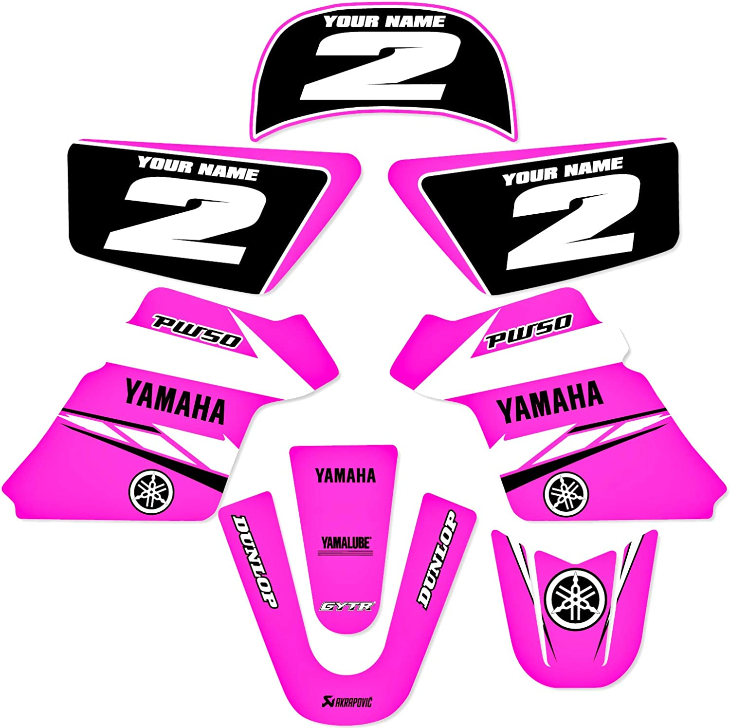purple YAMAHA PW 50 PW50 GRAPHICS KIT DECALS DECO Fits Years 1990-2018 Enjoy Mfg