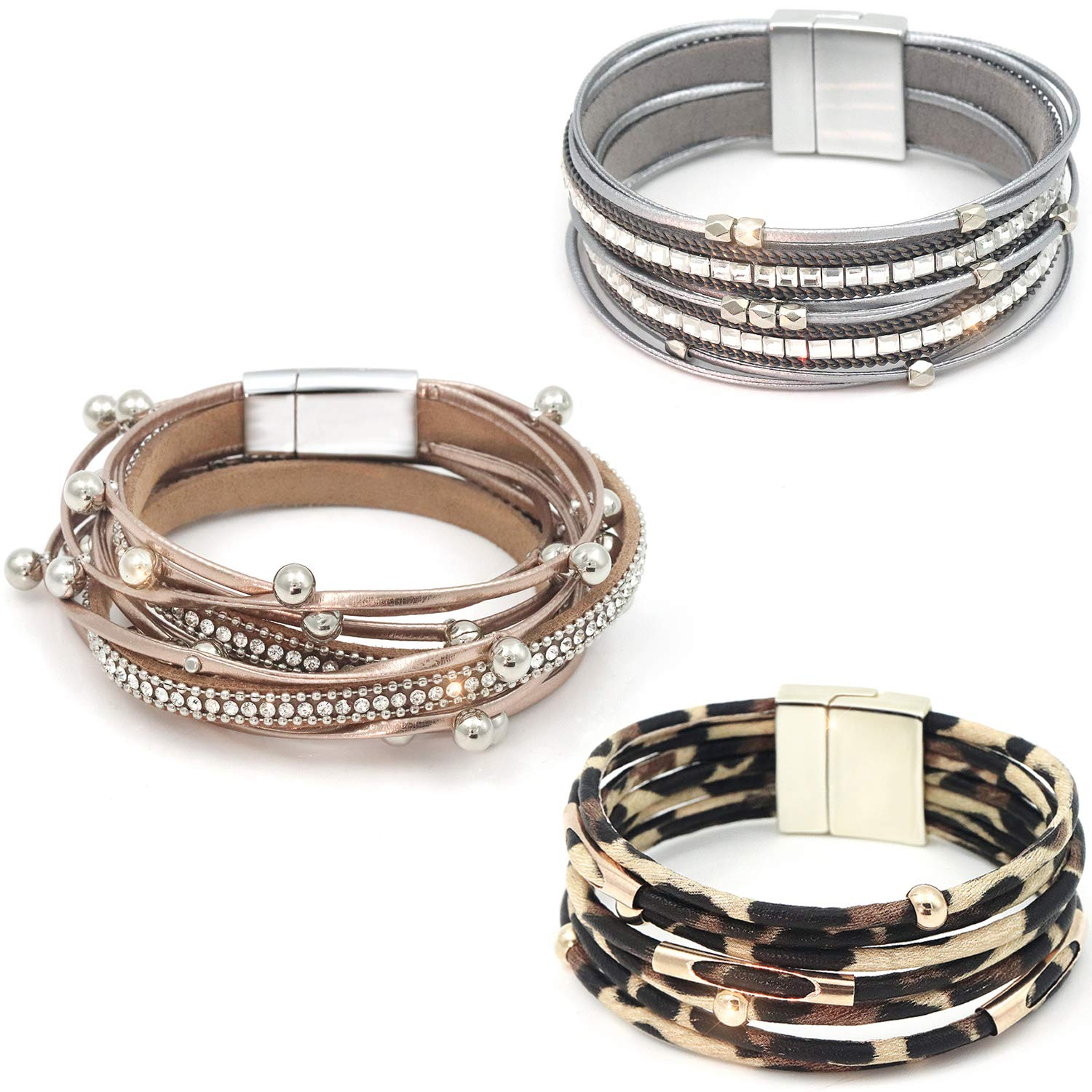Suyi 3 Pieces Multilayer Leather Bracelet Beads Wrap Bracelet Wrist Cuff Bangles with Magnetic Buckle for Women 3Pcs by Suyi