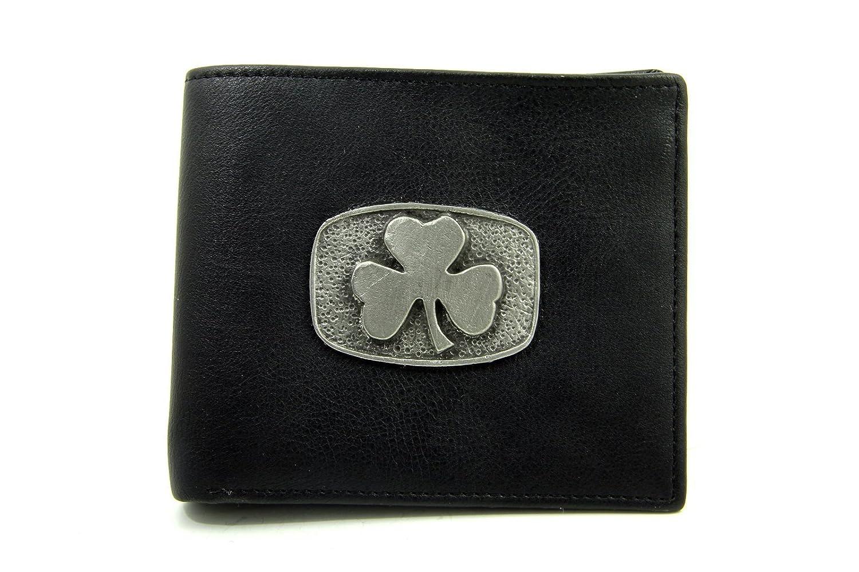 Mens Leather Wallet Shamrock Pewter Medallion