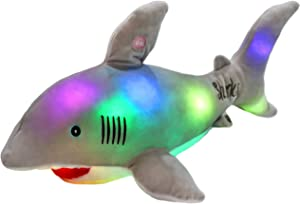 Bstaofy LED Shark Stuffed Animal Glow Plush Ocean Species Toy Night Lights Birthday for Kids, 20 Inches (Gray)
