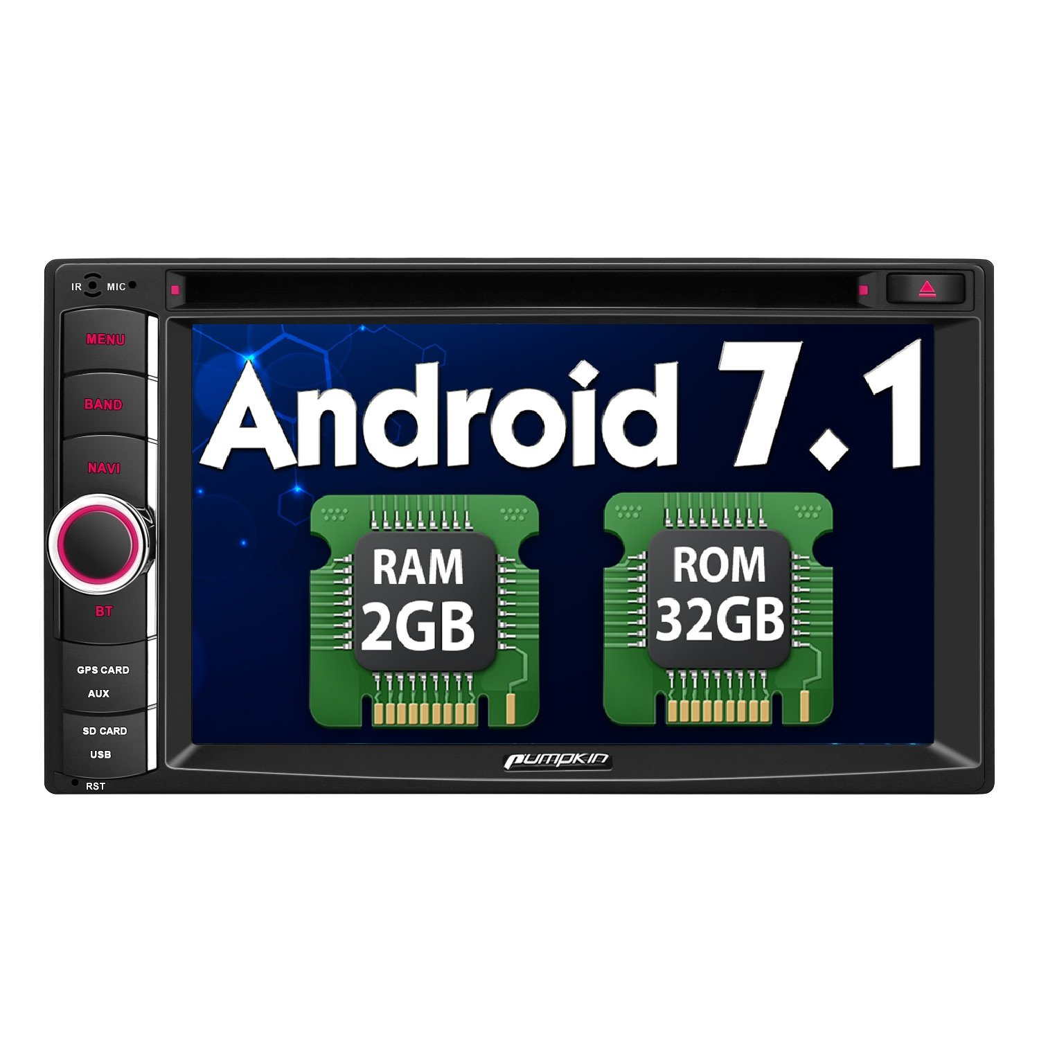 Android 7.1 Head Unit Double Din, Octa Core 32GB+ 2GB Car Stereo DVD CD Player with Navigation, Support Android Auto, Bluetooth, WIFI, MirrorLink, Backup Camera, AUX, Dash Cam, 6.2 Inch Touch Screen