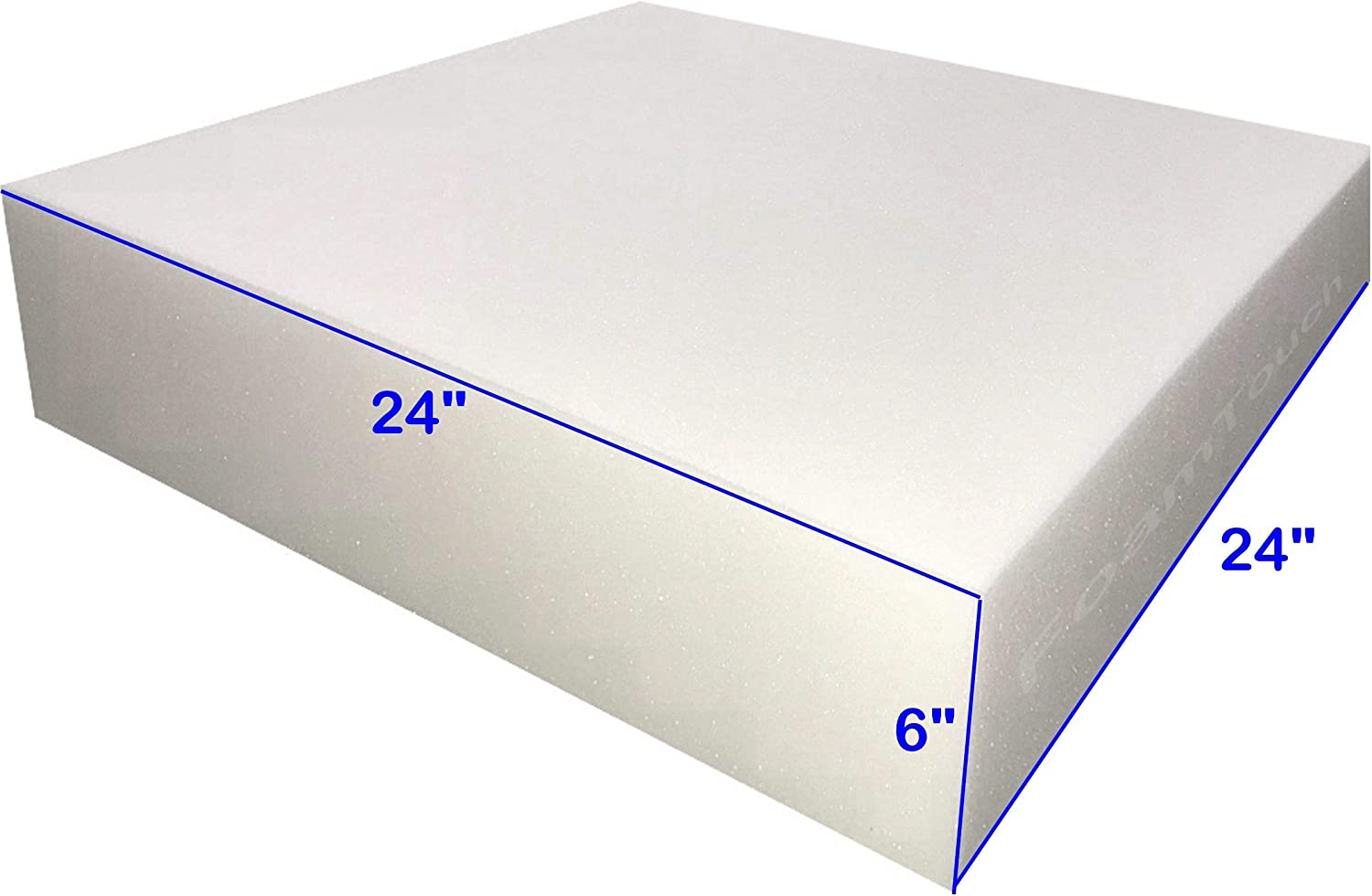 "FoamTouch 6x24x24HDF Upholstery Foam Cushion High Density, 6"" H X 24"" W X 24"" L"