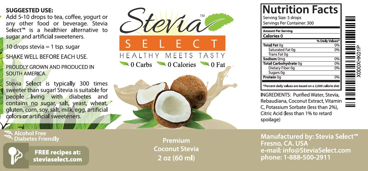 Liquid Stevia-Stevia Select Coconut Stevia 2 oz Stevia Drops From The Sweet Leaf-Sugar Free Stevia Flavor-Perfect For Any Weight Loss Diet-Best Tasting Coconut Flavor!