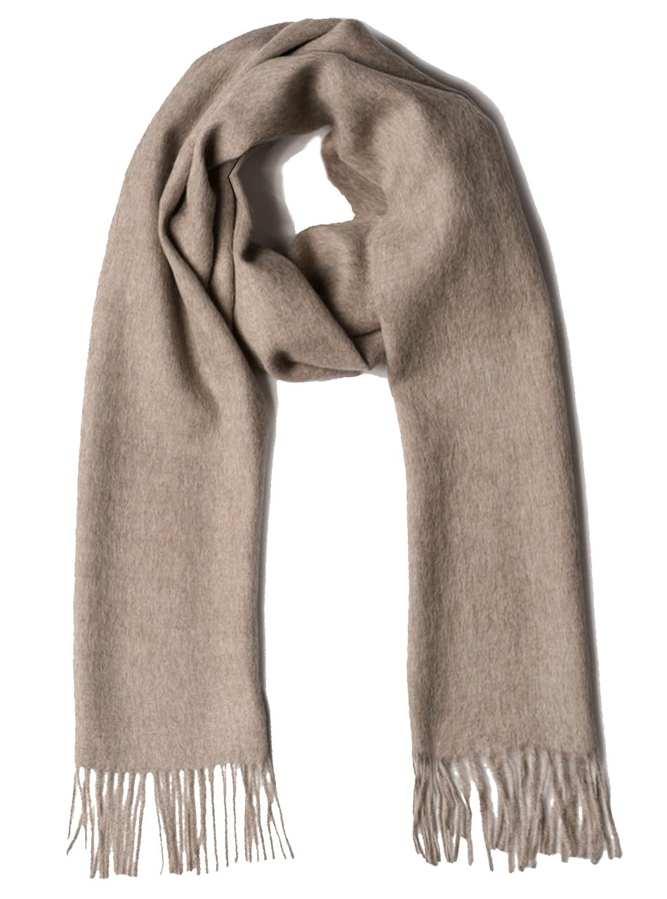 100% Pure Baby Alpaca Scarf - Bright Happy Solid & Natural Dye Free Colors (Taupe)