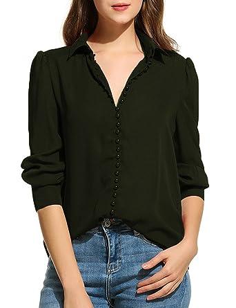 84ebf573e Zeagoo Women Long Sleeve Button Down Chiffon Blouse Shirt Solid Top, Black,  Small