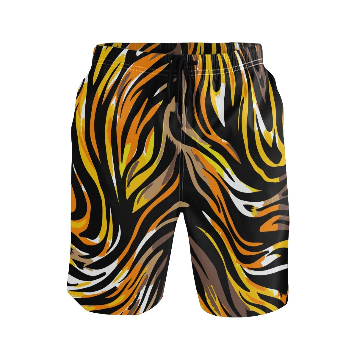JERECY Mens Swim Trunks Geometric Tiger Skin Pattern Quick Dry Board Shorts with Drawstring and Pockets