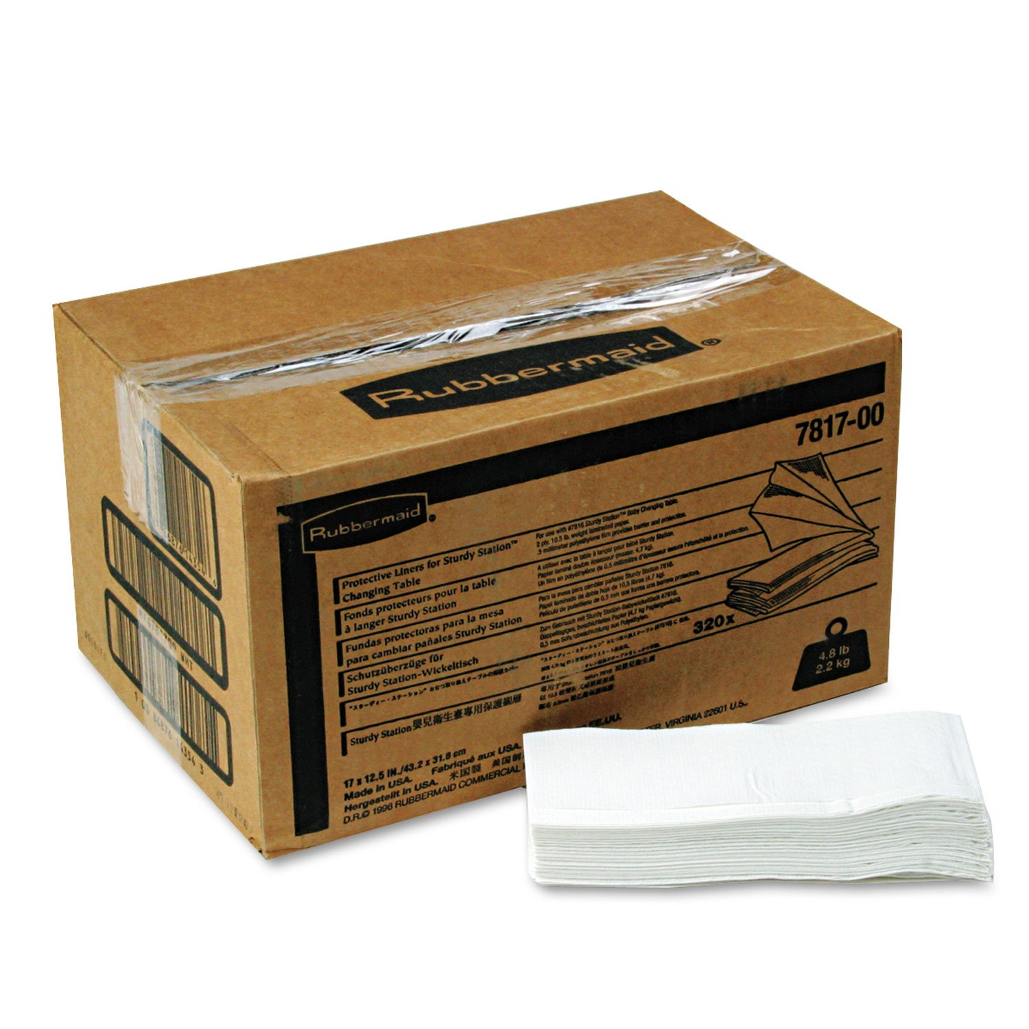 7817-88WE Rubbermaid Sturdy Station Changing Table Liner - 2 Ply - 320 / Carton - 13.25'' x 5.50'' - White