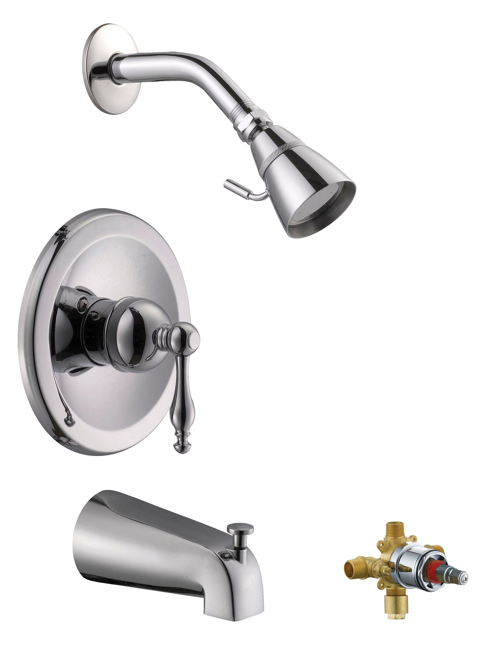 Design House 546036 Saratoga T & S Faucet, Polished Chrome, Includes Complete Installation Kit with Valve