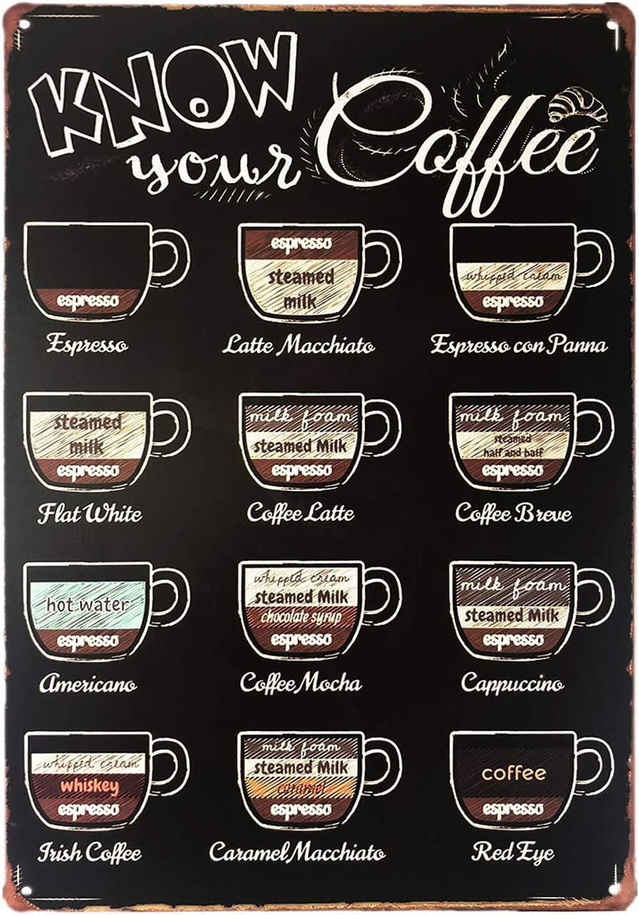"""UNIQUELOVER Metal Coffee Sign, Know Your Coffee Vintage Retro Kitchen Metal Sign Wall Home Decor 12"""" x 8""""/30 x 20cm"""