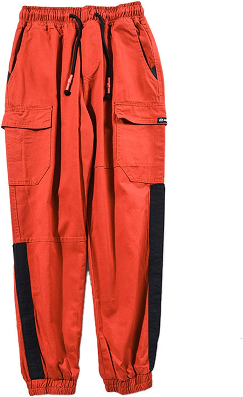 Hip Hip Harem Pants Men Harajuku Streetwear Pant Orange Patchwork Casual Trousers Jogger Pocket Sweatpant