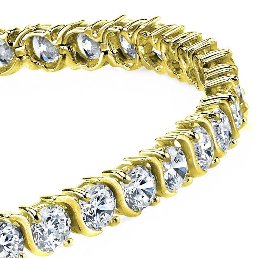 5mm 14K Gold Plated Sterling Silver ''S'' Shape Cubic Zirconia Tennis Bracelet