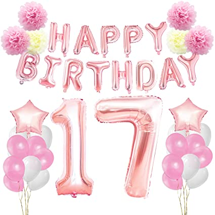 KUNGYO 17th Birthday Decorations Kit Rose Gold Happy Banner Giant Number 17 And