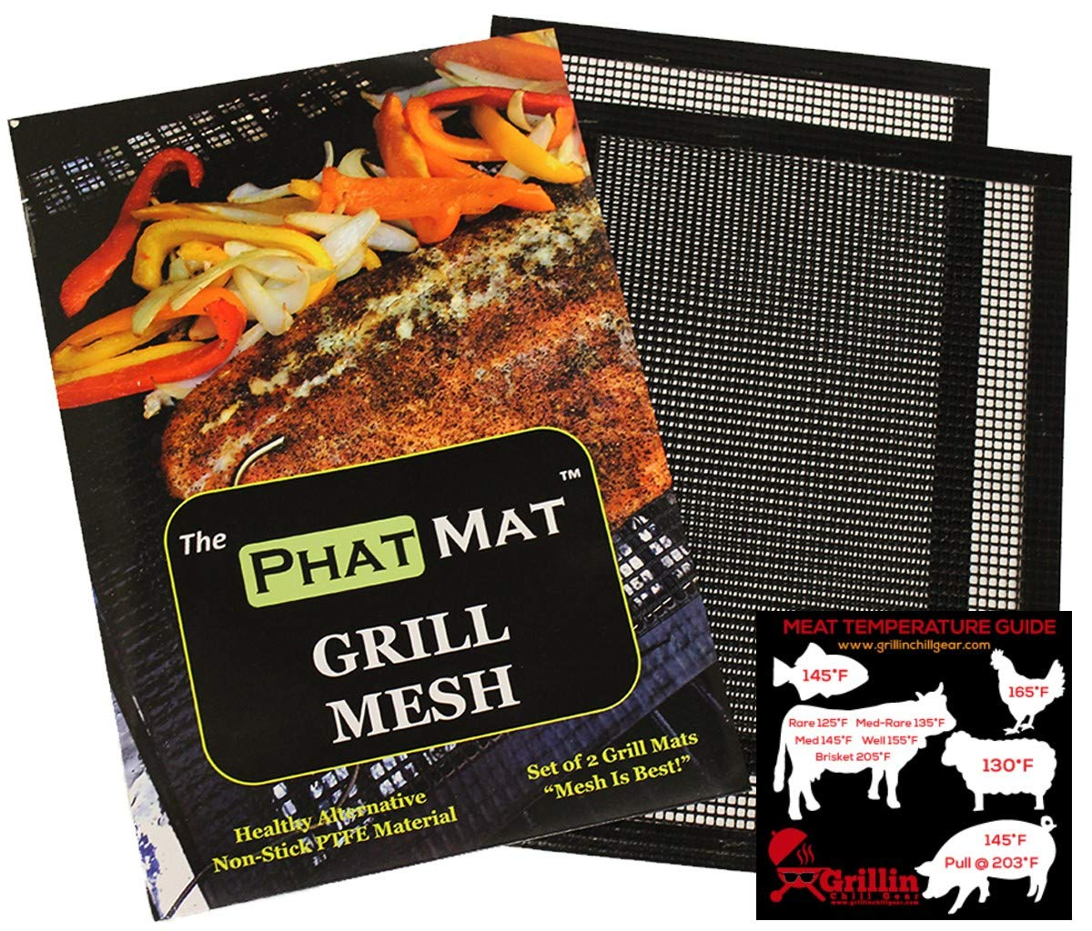 PhatMat Non Stick Grill Mesh Mats - Set of 2 - Nonstick Heavy Duty BBQ Grilling & Baking Accessories for Traeger, Rec Tec, Green Mountain, Smoker & Oven - 16 inches x 11 inches - Free Temp Guide by PhatMat