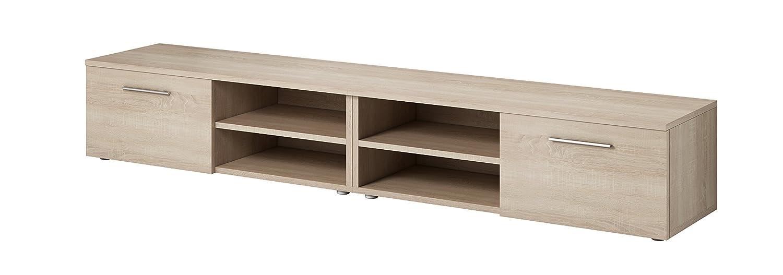 Tv Unit Cabinet Stand Vegas 240 Cm Light Oak Wood Amazon Co Uk  # Meuble Support Tv Ikea