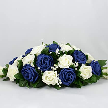Artificial Wedding Flowers Hand Made By Petals Polly Top Table Decoration Cream Ivory Navy Blue