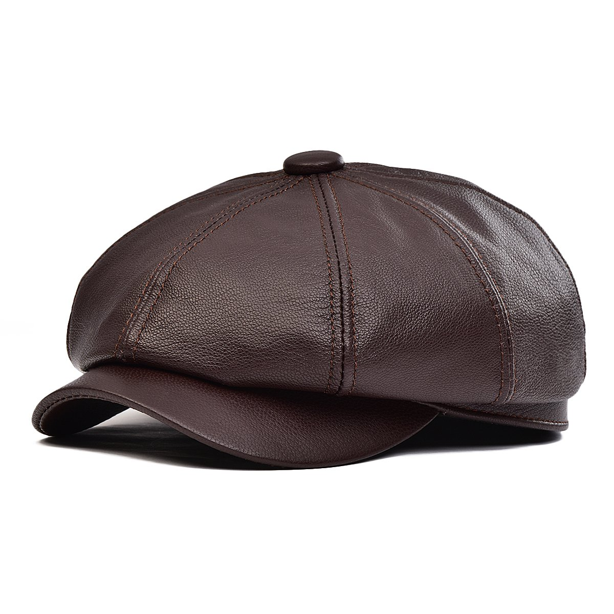VOBOOM 100% Lambskin Leather Ivy Hat Eight Pannel Cabbie Newsboy Beret Cap